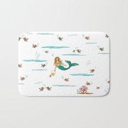 Fashionable mermaid - blue Bath Mat