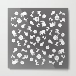 The Little Farm Animals, white on grey Metal Print