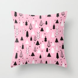 Pink Christmas Tree Forest Pattern Throw Pillow