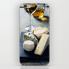 Various types of cheese and white wine iPhone Skin