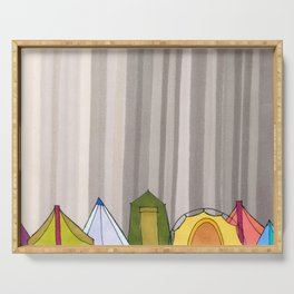 Stripes and Colorful Camping Tents 98 Serving Tray