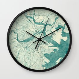 Boston Map Blue Vintage Wall Clock