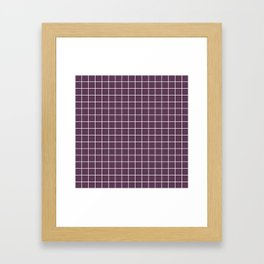 Dark byzantium - violet color - White Lines Grid Pattern Framed Art Print