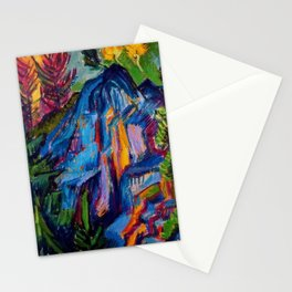 Floral Mountain Landscape with Blue Rocks by Ernst Ludwig Kirchner Stationery Cards