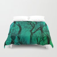 malachite Duvet Covers featuring Glamour Trees (green) by NatalieCatLee