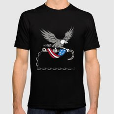 American Eagle Clutching Towing J Hook Flag Drape Retro X-LARGE Mens Fitted Tee Black