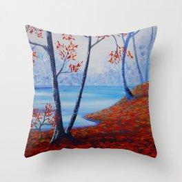 Autumn forest blue orange painting by Ksavera Throw Pillow