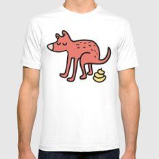 Pooping dog Mens Fitted Tee White MEDIUM