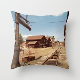 Siding Leading to Roundhouse Past Machine Shop East Broad Top Pennsylvania Throw Pillow