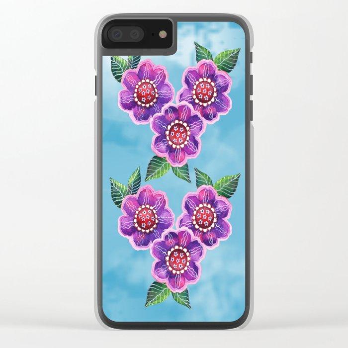 Purple Flowers II Clear iPhone Case