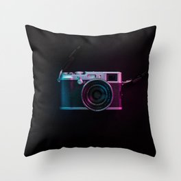 BLACK AND SILVER SLR CAMERA Throw Pillow