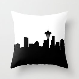 seattle cityscape silhouete Throw Pillow