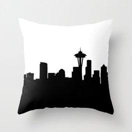 seattle cityscape silhouete Throw Pillow