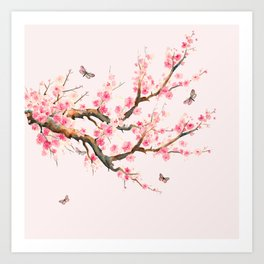 Pink Cherry Blossom Dream Art Print