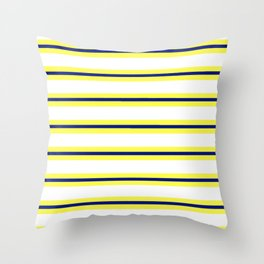 Nautical Yellow, White and Navy, Crisp and Clean Lines Throw Pillow