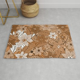 Autumn mood with flowers and leaves in brown and beige romantic illustration Rug