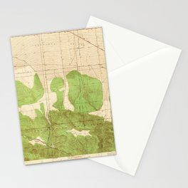 Mescal Creek, CA from 1940 Vintage Map - High Quality Stationery Cards