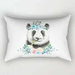 Watercolor Floral Spray Boho Panda Rectangular Pillow