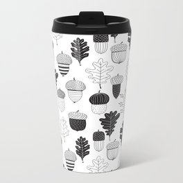 Acorns and oak leaves autumn pattern Metal Travel Mug