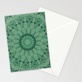 Green leaves mandala. Stationery Cards