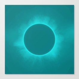 Solar Eclipse in Turquoise Color Canvas Print