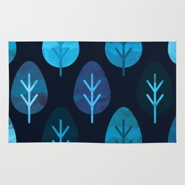 Watercolor Forest Pattern Rug