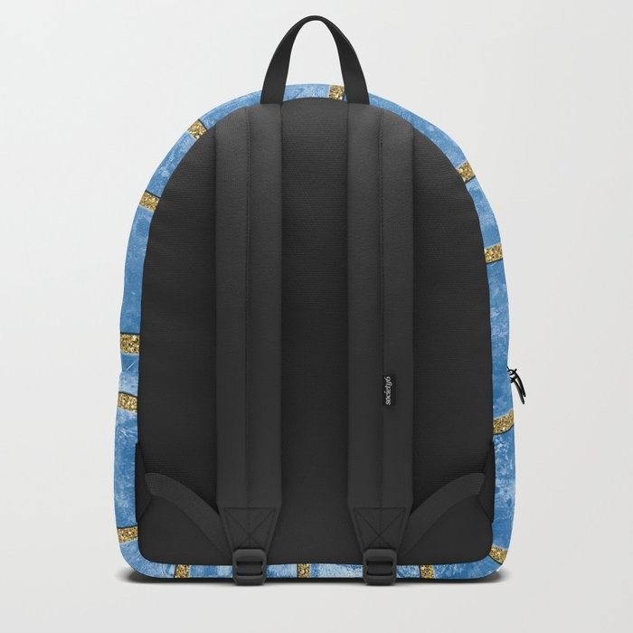 Abstract Painting with Golden Stripes - Blue Backpack