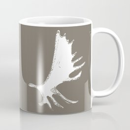 Moose Antlers Silhouettes in Driftwood Brown Coffee Mug