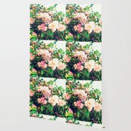 Romantic Nostalgic Pink Flowers Wallpaper