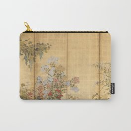 Japanese Edo Period Six-Panel Gold Leaf Screen - Spring and Autumn Flowers Carry-All Pouch