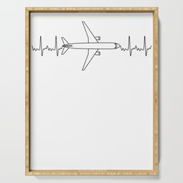 ECG Pilot Heartbeat Pulse Gift for Aviation & Aeroplane Lovers Serving Tray