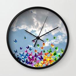 Butterflies in blue sky Wall Clock
