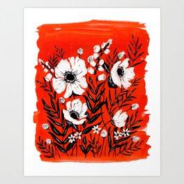 RED FLORALS Art Print