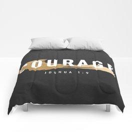 Courage Joshua 1:9 (Faux Gold Foil) Comforters