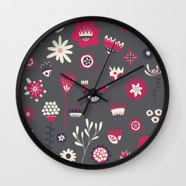 Scandi Floral Dark Wall Clock