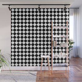 VERY SMALL BLACK AND WHITE HARLEQUIN DIAMOND PATTERN Wall Mural
