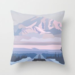 On the way to snowy mountain, minimalism in nature. Throw Pillow