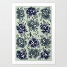 Dozen Roses - Blue Art Print