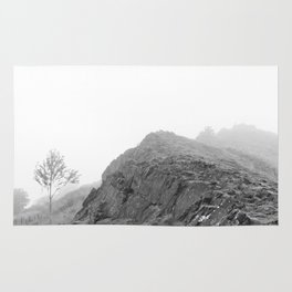 Foggy Mountain Landscape, Black and White Rug