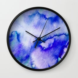 Watercolor texture - electric blue Wall Clock