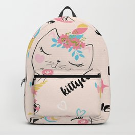 Cute cat unicorn pattern illustration for kids Backpack