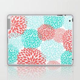 Coral Teal Dahlia Bouquet Laptop & iPad Skin