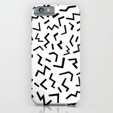 Maxie - black and white minimal modern abstract squiggle stripe dot lines geometric pattern urban  Slim Case iPhone 6