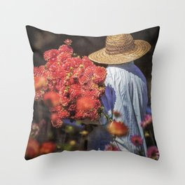 Picking the Flowers Throw Pillow