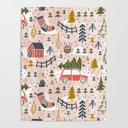 Home For The Holidays Blush Pink Christmas Poster