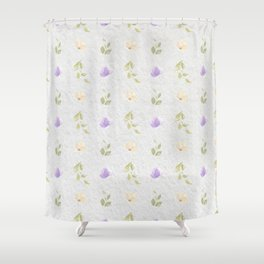 Lilac green hand painted floral leaves pattern Shower Curtain