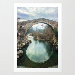 The hump-backed Roman Bridge Art Print