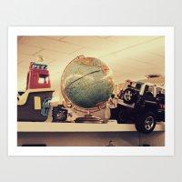 globe Art Prints featuring Globe by Lucy Hodkiewicz