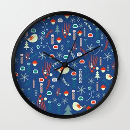 Christmas pattern with cute birds Wall Clock