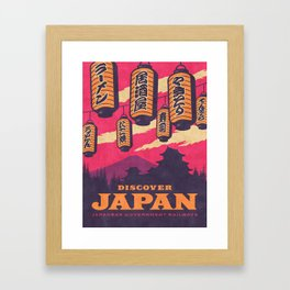 Japan Travel Tourism with Japanese Castle, Mt Fuji, Lanterns Retro Vintage - Magenta Framed Art Print